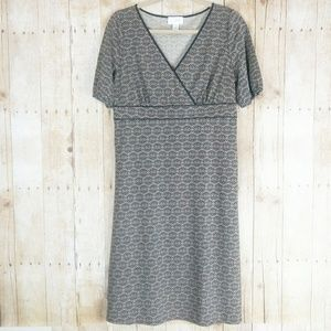 Loft Tan & Black Short Sleeve Dress Size 10